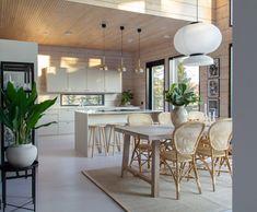 Log Cabin Kitchens, Home Kitchens, Kitchen Dining, Kitchen Decor, Dining Table, Kitchen Ideas, Modern Loft, Log Homes, My Dream Home