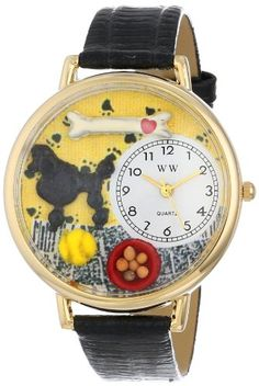 Whimsical Watches Unisex G0130059 Poodle Black Skin Leather Watch - http://www.artistic-watches.com/2015/03/07/whimsical-watches-unisex-g0130059-poodle-black-skin-leather-watch/