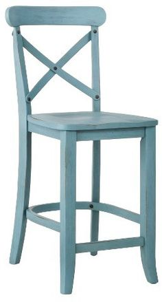 Rustic French country x-back barstool in blue  (Affiliate)