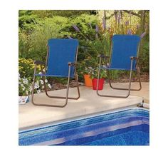 Outdoor Folding Patio Chairs Pool Deck Garden Yard Camping Picnic Set of 2 Blue #MS