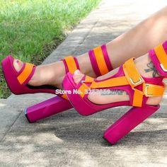 Sexy Treasure Colorful Chunky Heels With Buckle Strap Pick Your Color – Aleta's Hidden Treasures Pink And Burgundy Wedding, Orange Heels, Orange Pink, Snake Skin Shoes, Mein Style, Gladiator Heels, Hot Heels, Wedding Heels, Metal Buckles