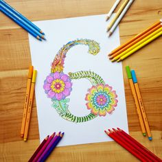 Colored Floral Number 6.
