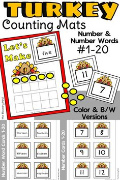 Thanksgiving Turkey Counting Mats are a fun and easy math center for November! These ten frame number mats are perfect for teaching counting 1-20 and number identification. Use manipulatives, playdough, dry erase markers, or the printable counters provided to make these interactive! Also included are both number and number word cards with the counting mat. #mathmats #Thanksgivingmath #Thanksgivingcenters #turkeymath #preschoolmath #kindergartenmath #Thanksgivingactivities #countingmats