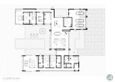 Modern House Floor Plans, Modern Barn House, Modern Minimalist House, Small Modern Home, Ranch House Plans, Dream House Plans, Bali Style Home, Courtyard House Plans, Modern Villa Design