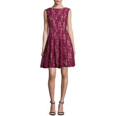 Gabby Skye Women's Lace Fit and Flare Dress ($98) ❤ liked on Polyvore featuring dresses, orchid pea, lace cap sleeve dress, purple fit and flare dress, gabby skye dresses, lace dress and fit flare dress