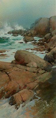 "Cindy Baron ""Coastal Beauty"" Watercolor 8"" x 17"""