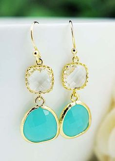 Mint Opal with clear glass drop earrings from EarringsNation