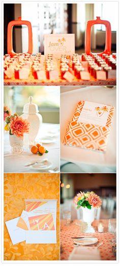 modern california wedding - Summer Wedding Invites - Orange Wedding