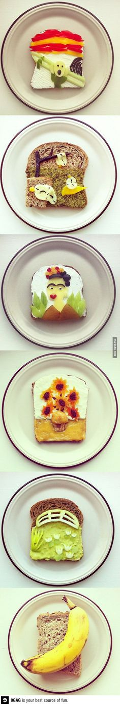Famous Works Of Art Recreated On Toast: Edvard Munch- The Scream Salvador Dali- The Persistence of Memory Frida Kahlo- Self Portrait with Thorn Necklace and Hummingbird Vincent Van Gogh- Sunflowers Claude Monet- Bridge over a Pond of Water Lilies  Andy Warhol- Banana