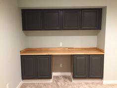 Sherwin Williams Urbane Bronze Cabinets with Maple Butcher Block