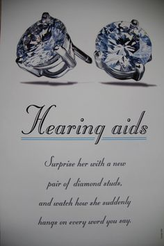Hearing Aids. Surprise her with a new pair of diamond studs. #Earrings #Orangeville #Diamonds