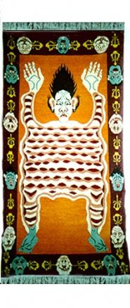 TIBETIAN BUDDHIST CARPETS | Tantric Carpet, Flayed Man - Tibetan Tiger Rugs, Beads, Buddhist ...