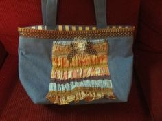Large Denim Upcycled Tote  Eco Friendly Couture by clriegs on Etsy, $25.00