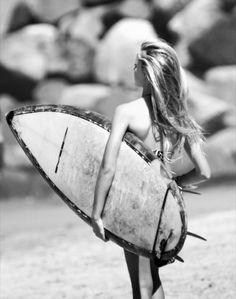 #blackandwhite #girl #surfer