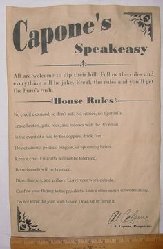 Murder Party Decor ideas: Al Capone's Speakeasy House Rules Poster, 11 x bar, gin joint, speak easy Great Gatsby Party, Gatsby Theme, Nye Party, 1920 Theme, Roaring 20s Theme, Roaring Twenties Party, Halloween Party, Speakeasy Decor, 1920s Speakeasy