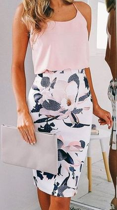 Blush + White Floral Source #dressescasual
