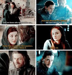 Ned and Catelyn, Jon and Sansa. Game of Thrones - The Stark women have powerful intuitions Got Game Of Thrones, Game Of Thrones Quotes, Game Of Thrones Funny, Valar Dohaeris, Valar Morghulis, Winter Is Here, Winter Is Coming, Catelyn Stark, Dragons