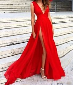 Sparkly Prom Dress, Sexy Split Evening Dress,V-neckline Red Evening Gowns,Split Prom Dresses,Slit Sexy Party Dresses.Red Formal Dress These 2020 prom dresses include everything from sophisticated long prom gowns to short party dresses for prom. Split Prom Dresses, V Neck Prom Dresses, Grad Dresses, Sexy Dresses, Fashion Dresses, Dresses 2016, Dresses Online, Red Bridesmaid Dresses, Red Dress Prom