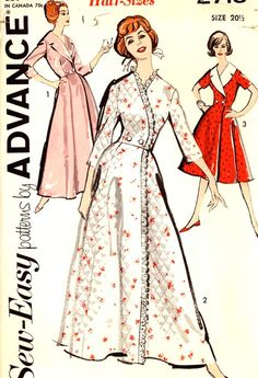 Vintage wrap dress and housecoat  plus size Retro style vintage sewing pattern Advance 2718 UNCUT Bust 41