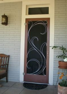 Vintage Aluminum Screen Door
