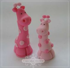 """Set of 2 Edible Fondant """"Party City"""" Pink or Blue Safari Baby Shower Giraffe Cake and Cupcake Toppers by Cupcake Stylist"""