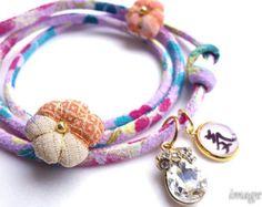 Japanese Kimono Bracelet Japanese Necklace cord by IrodoriLife