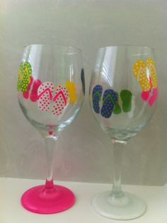 Set of 2 Hand Painted Flip Flop Wine Glasses by delilahs82 on Etsy, $14.00