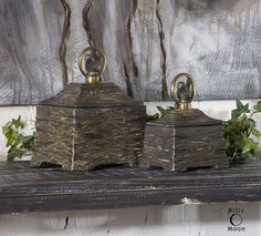 Tuscan / French Style St/2 Decorative Ceramic Boxes Antique Bronze Metal Accents