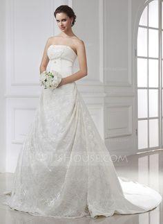Corte A/Princesa Estrapless La capilla de tren Satén Encaje Vestido de novia con Volantes.