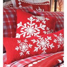 """16"""" Sq. Hooked Wool Holiday Snowflake Pillow 