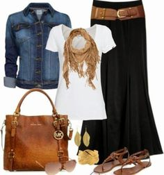 Jean jacket, white shirt, brown scarf, black skirt and brown hand bag.. Click the pic for more by FashionJoey