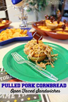 Pulled Pork Cornbread Open Faced Sandwiches With Honey Mustard Sauce! Open Faced Sandwich, Honey Mustard Sauce, Shredded Pork, Game Day Food, Pulled Pork, Cornbread, Waffles, Sandwiches, Southern Food