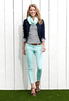 We love denim in all shades and tones. Skinny mint jeans, navy / white stripe top, navy blazer, mint green scarf, tan wedge sandals