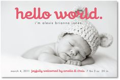 cute wording, love the black and white with color for announcement.