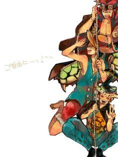 Kid, Luffy, Law, One Piece.