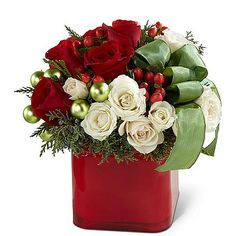 Send flowers from a real Rockford, IL local florist. Flowers and Balloons by Haley has a large selection of gorgeous floral arrangements and bouquets. We offer same-day flower deliveries for flowers. Christmas Flower Arrangements, Holiday Centerpieces, Christmas Flowers, Beautiful Flower Arrangements, Christmas Table Decorations, Floral Arrangements, Christmas Crafts, Christmas Ideas, Christmas Floral Designs