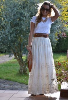 Spring; long skirt, wide belt, t-shirt, necklace/scarf
