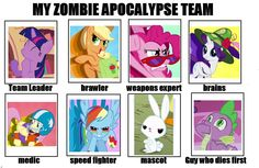 My Little Pony Zombie Apocalypse Team. Mlp My Little Pony, My Little Pony Friendship, Pinkie Pie, Fluttershy, Zombie Apocalypse Team, Zombie Apocolypse, Mlp Memes, Mlp Fan Art, Mlp Comics