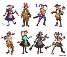 Final concept art for Borderlands 2 Character Tiny Tina. Sketches below. 3d Character, Character Concept, Concept Art, Character Design, Cyberpunk Character, Character Reference, Character Portraits, Character Development, Character Outfits