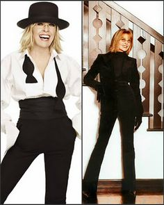 Diane Keaton. Beauty and Style icon, and a woman who knows how to age gracefully. The iconic menswear inspired Annie Hall look (based loosely on herself, born Diane Hall) both defined an era while being timeless.