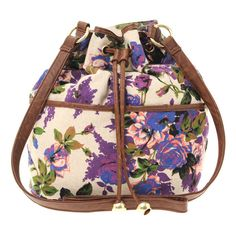 ASOS Floral Print Canvas Duffle Bag ($29) ❤ liked on Polyvore