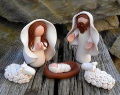 Teacup Miniature Nativity.MaryJoseph and baby Jesus.
