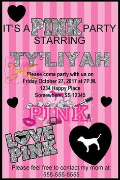 Love Pink Invite, VS Pink Party Invitation (Digital File Only) – Invitation Ideas for 2020 Sweet 16 Sleepover, Sleepover Birthday Parties, Birthday Party Themes, Birthday Ideas, Birthday Bash, Pink Birthday, Sweet 16 Birthday, 16th Birthday, Daughter Birthday