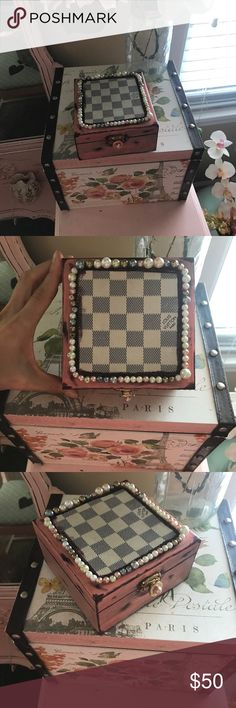 Wood jewelry box Wood jewelry box accented with Damier Azur canvas, hardware from a Noe Gm and faux pearls, done in a coral pink and distressed. Louis Vuitton Accessories