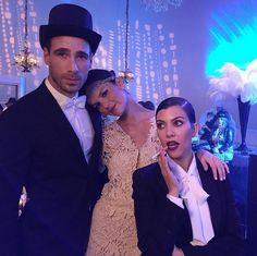 Pin for Later: Kendall Jenner Was a Dazzling Daisy For Kris Jenner's Gatsby Party  Kourtney Kardashian slicked her hair back and fastened a bow on her blouse, channeling Jay Gatsby himself.