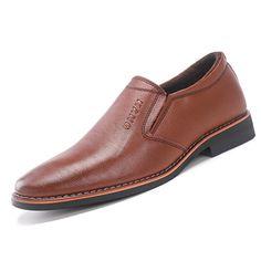 0972cb7e69d Men Leather Slip Resistant Warm Slip On Casual Formal Shoes