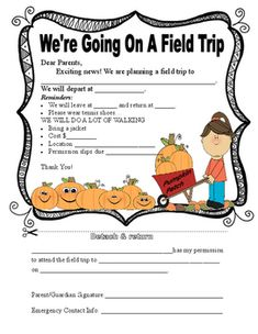 Do you need a cute, but formative permission slip for a Fall/pumpkin patch field trip? This is it! The form contains trip information, location, times, cost, etc. Thanks! Happy downloading!