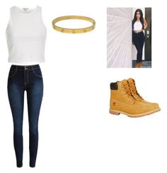 """""""Madison Beer Outfit"""" by angelhernandez21 ❤ liked on Polyvore featuring Timberland, River Island and Cartier"""
