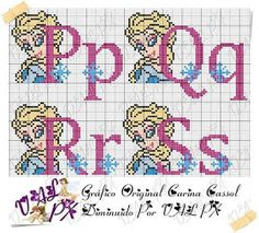 TOALHAS IN E CIA: Monograma da Frozen Frozen Cross Stitch, Plastic Canvas Letters, Disney Cross Stitch Patterns, Cross Stitch Letters, Loom Patterns, Le Point, Letters And Numbers, Hama Beads, Cross Stitch Embroidery