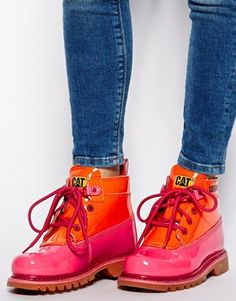 Caterpillar Alexa Pink Patent Ankle Boots